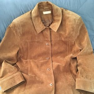 Kate Hill brown suede button down jacket